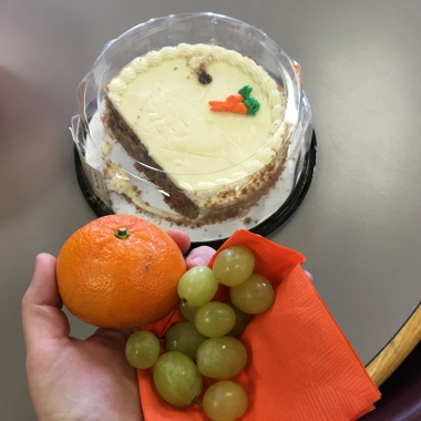 Carrot cake is my favorite, but I resisted!