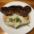 Hubby's steak and potatoes